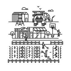 Illustrations réalisées pour habiller la palissade entourant le chantier du future quartier de la Prairie au Duc sur l'île de Nantes. Textes et mises en formes réalisés par l'agence nantaise Scopic