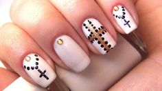White mani with black crosses and rhinestones :: one1lady.com :: #nail #nails #nailart #manicure