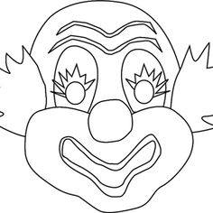 Clown mask coloring and drawing sheet