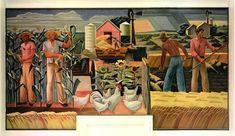 Texas Farm, Elgin, Texas Post Office Mural by Julius Woeltz, 1940