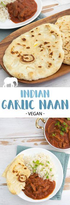 Indian Garlic Naan | ElephantasticVegan.com #naan #garlic #indian #bread #flatbread via @elephantasticv