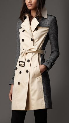 Burberry Long Tweed Panel Trench Coat