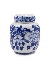 Dahlia Vintage Lotus Blue and White Embossed Porcelain Tea Tin/Tea Storage/ Tea Caddy/ Tea Canister