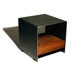 Cubic Side Table Steel & Walnut