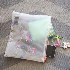 Kindah Khalidy glitter mesh pouch