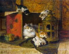 Mother cat and four kittens playing | Henriette Ronner-Knip