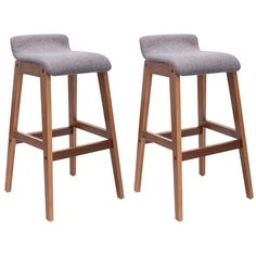 Set of 2 Bentwood Bar Stools Counter Height Modern Bistro Kitchen Pub Chair