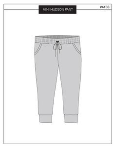 MINI HUDSON PANT from True Bias, sizes 2T to 10, a skinny sweat pant with elastic waistband, drawstring, pockets and cuffs.Urban fit with bit of extra room around hips tapering into skinny leg. pdf pattern.