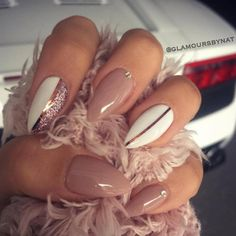 pinky nude + white nailart w/ rose gold striping tape, glitter accent + little crystals @glamours_by_nat #nails #manicure