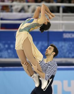 Sara Hurtado and Adria Diaz of Spain compete in the ice dance free dance figure skating finals at the Iceberg Skating Palace during the 2014 Winter Olympics, Monday, Feb. 17, 2014, in Sochi, Russia.