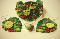 Floral Design Polymer Clay Jewelry Cuff Bracelet Earrings Ring Set in Green Yellow Red by DASH Art Studio (WJ3-7)