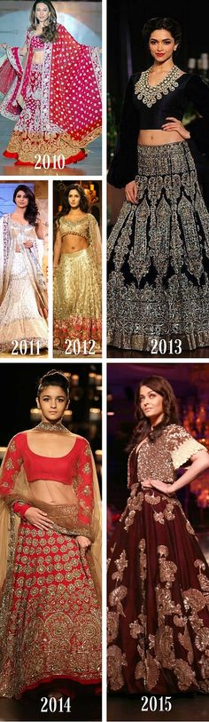 Evolution of Manish Malhotra's designs in lehenga choli, bridal gowns and bridal lehenga. His showstoppers were Karishma Kapoor, Deepika Padukone, Katrina Kaif, Aishwarya Rai, Alia Bhatt and Priyanka Chopra. Read more here: https://plus.google.com/112811234560384845249/posts/LaecJX2nLgj