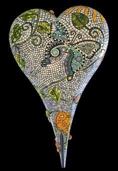 "Mosaic Heart  ""GARDEN"" - JAN COMSTOCK DEL'ARIO- ARTIST"