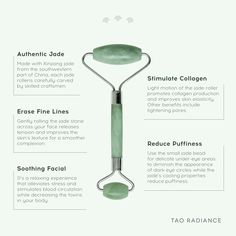 With a holistic approach to health and beauty, Tao Radiance creates products inspired by elements of nature. Paraben-free, sulfate-free, and cruelty-free, our brand ethos is built on delivering thoughtfully created skincare for the modern woman and man. Beauty Care, Beauty Skin, Beauty Hacks, Jade Face Roller, Jade Rolling, Face Massage, Skin Care Tools, Face Skin Care, Facial Care