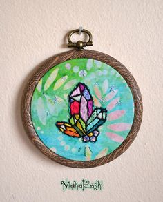 Hand embroidered Crystal cluster Crystals Hippie