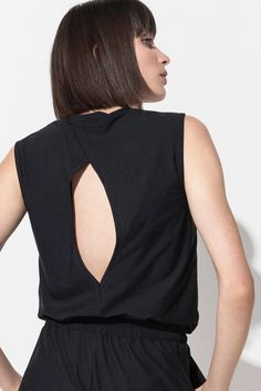 Easy-care tank top with a crew neckline and an unexpected cutout back design made from wrinkle-resistant, lightweight Italian fabric. Bra Tops, Tank Tops, Bra Sizes, Serenity, Perfect Fit, Active Wear, Bodysuit, Women, Fashion