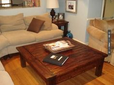 A Touch of Arkansas: big coffee table end tables Made this for our living roo Oversized Square Coffee Table, Solid Wood Coffee Table, Large Coffee Tables, Diy Coffee Table, Coffee Table Design, Diy Table, Big Coffee, White Coffee, Iced Coffee