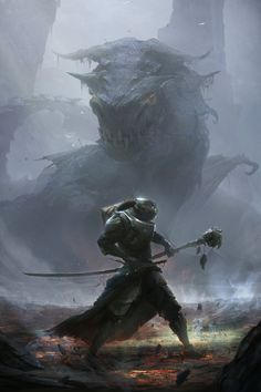 dragon fog by ptitvinc giant lizard fighter paladin knight player character npc…
