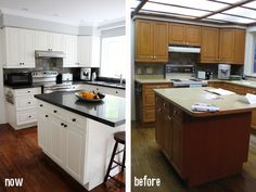 The original kitchen had a good layout and solid cabinetry. Fresh paint and a new countertop. The drop ceiling and lighting was removed adding recessed lighting and crown moulding to match the rest of house. Now and Before photos..... Before and after photos of kitchen renovation By DIFY Design