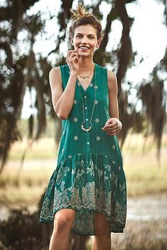 $158 nwt ANTHROPOLOGIE MAEVE sz M embroidered PIPPA SWING DRESS in green #Anthropologie #Flapper