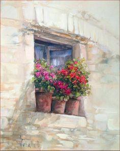 Window With Flowers Painting by Antonietta Varallo