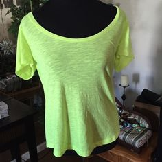 Victoria's Secret Pink Work Out Tee Bright green/yellow athletic shirt by VS Pink line. Victoria's Secret Tops Tees - Short Sleeve