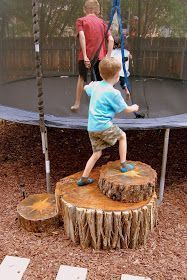 Extraordinary Wood Working Joints Ideas This project was at the top of my outside DIY list this summer: figure out steps for our trampoline! We've had our trampoline for . Kids Outdoor Play, Outdoor Play Spaces, Kids Play Area, Backyard For Kids, Backyard Projects, Outdoor Projects, Outdoor Fun, Play Areas, Wood Projects