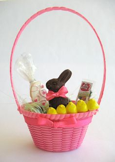 """Tall Pink Easter Basket for your 18"""" doll and her American girl. $6.75, via Etsy."""