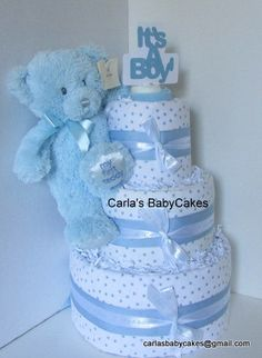 Blue Teddy Bear Diaper Cake  Boy Diaper Cake  by MsCarlasBabyCakes, $65.00   Use Coupon Code:  GIVINGTHANKS25  receive a 25%off discount on this purchase!