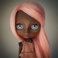 Blythe Doll with Brown Skin and Pink Hair