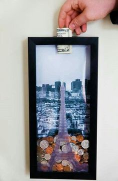 Money saving shadow box for that special trp.looks ike you just plan on buying croissant with your super small shadow box Savings Shadow Box, Box Photo, Crazy Home, Ideias Diy, Handmade Home Decor, Inspired Homes, Diy Room Decor, Travel Room Decor, Diy Gifts