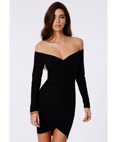 Lizzy Slinky Bardot Wrap Bodycon Dress In Black - Dresses - Missguided