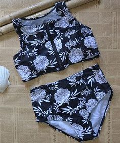 Summer newset Floral Print zipper push up crop top high neck bikinis set women Triangle swimsuit swimwear bathing suit