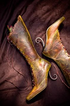 #high leaf boots  : Embossed and hand painted, these high leaf boots are available in autumn browns, greens or red (or whatever colour you like by request).  Made to order with your choice of toe shape, heel height and heel....including a steel curly heel for the extra adventurous.     http://bit.ly/1m4uU24
