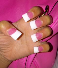 Dark Pink With Sparkles And White Flared Nails
