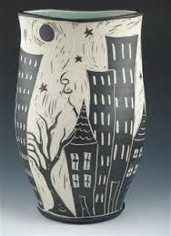 Bass River Pottery | Sgraffito -- Nice use of stripes for a watery ...
