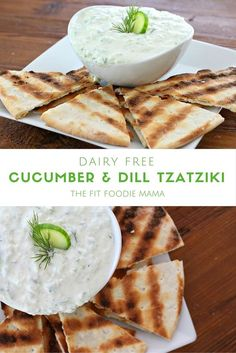 Dairy Free Cucumber & Dill Tzatziki Sauce with Grilled Gluten Free Pita Bread! This recipe is the perfect dip for a summer party or even to drizzle on a salad or top burgers, meatballs and chicken with! Plus it's vegan, paleo and healthy too! TheFitFoodieMama.com