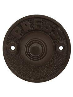 """Vintage """"Press"""" Door Bell Button In Solid, Cast Brass Antique Hardware, Antique Brass, Bell Button, Door Fittings, Industrial Door, Door Sets, Buzzer, Outdoor Doors, Door Knockers"""
