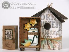 Adorable #matchbox #birdhouse made by Kay Williamson with the Adirondacks collection! #clubscrap #minialbum
