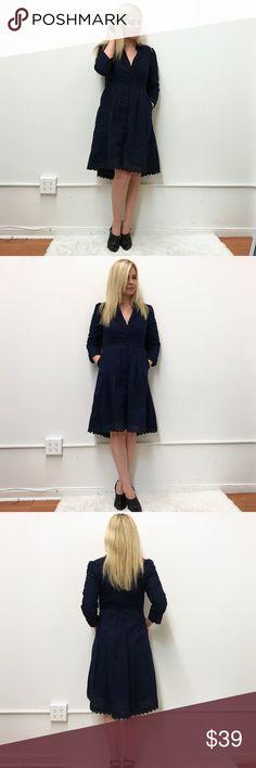 "Anthropologie Moulinette Soeurs dress sz 8 Anthropologie shirt dress. Sz 8. Navy blue. Chest flats cross 18"" length 39.5"" at the longest part. Anthropologie Dresses High Low"