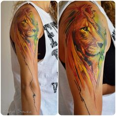 Lion Tattoos For Girls Tumblr Colorful girl's arm's lion
