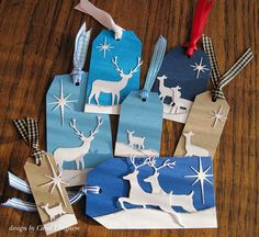 Our Little Inspirations: A Few Tags - MB Deer Trio, and Star of Wonder dies. And the new Leaping Deer die. Christmas Scrapbook, Christmas Gift Tags, Xmas Cards, Deer Tags, Memory Box Cards, Hand Made Greeting Cards, Card Sentiments, Handmade Tags, Winter Cards