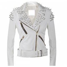 Leather Rider Women White Biker Studded Leather jacket