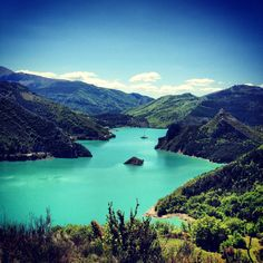 Great blue color in this peaceful lake near the village of Castellane, Southern French Alps