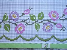 This Pin was discovered by Zey Cross Stitch Rose, Beaded Cross Stitch, Cross Stitch Borders, Cross Stitch Flowers, Cross Stitch Charts, Cross Stitch Designs, Cross Stitch Embroidery, Cross Stitch Patterns, Palestinian Embroidery