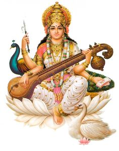 sarasvati: hindu goddess of eloquence and intelligence, sarasvati extends a refreshing drink from her well of knowledge to complete the month with aptitude. In hindu tradition, Sarasvati invented all sciences, arts, and writing. Saraswati Vandana, Saraswati Mata, Saraswati Goddess, Saraswati Photo, Krishna, Hanuman, Saraswathi Pooja, Kundalini Mantra, Kundalini Yoga