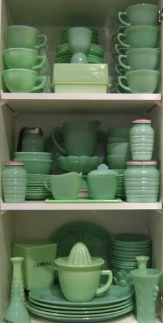 Jadite: Opaque green glassware commonly sold at dimestores distributed mainly by Anchor Hocking Fire King, McKee, & Jeannette Glass Companys in the 40s, 50s, 60s.