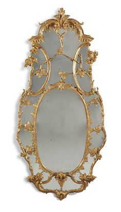 In giltwood exhuberantly carved with branches, acanthus leaves, and berries. Antique Mirrors, Acanthus, Antique Furniture, Period, Irish, Carving, Antiques, Collection, Old Mirrors
