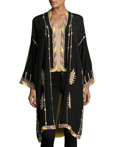 Talitha Collection Embroidered Long Silk Kimono Coat