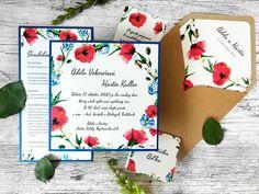 Plánujete pestrú svadbu plnú kvetov? 🌹🌿🌺 V našej najnovšej kolekcii máme aj toto krásne svadobné oznámenie s motívom divých makov! Kvety sú natlačené na krásnom perleťovom papieri a kráľovská modrá farba tvorí výrazný podklad oznámenia. 😊  #svadba #svadobneoznamenie #zasnuby Bunt, Red And Blue, Wedding, Vintage, Royal Blue Color, Handmade Envelopes, Invitation Text, Place Cards, Card Wedding